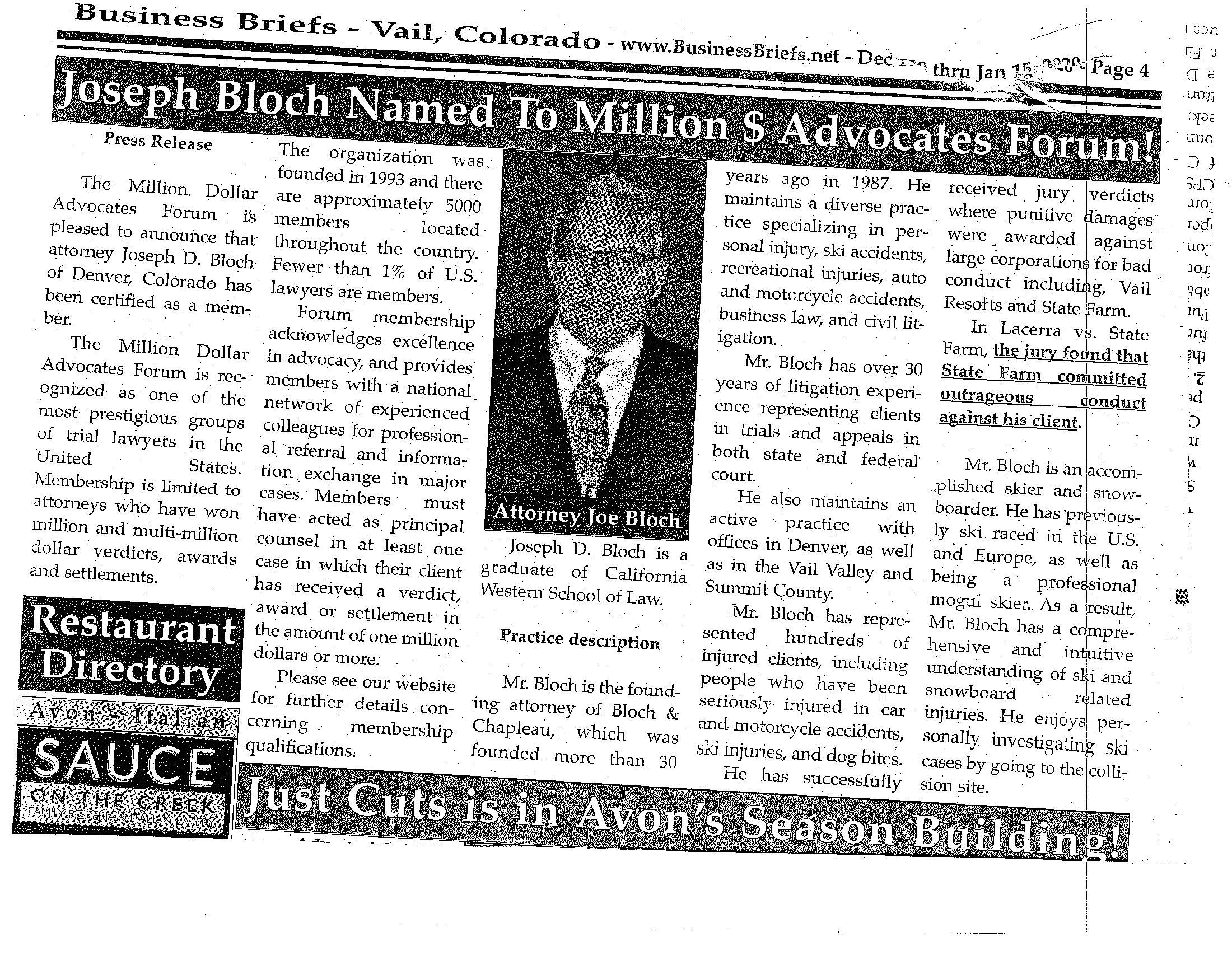 Joseph D. Bloch Named To Million Dollar Advocates Forum.